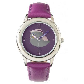 Cute Purple Bird Old Fashion Lady Adorable Girly Watch
