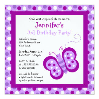Cute Purple Butterfly & Polka Dots Birthday Invite