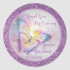 Cute Purple Butterfly Thank You Baby Shower Classic Round Sticker