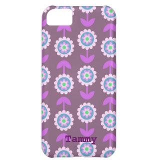 Cute Purple Cartoon Flowers iPhone 5c Cover