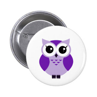 Cute purple cartoon owl 6 cm round badge