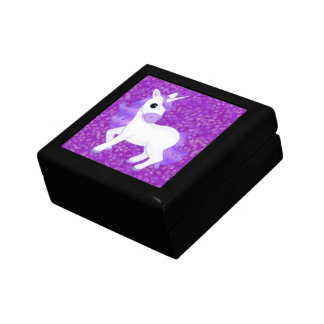 Cute Purple Cartoon Unicorn on Glitter Pattern Small Square Gift Box
