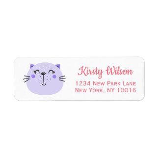 Cute Purple Cat | Baby Shower Return Address Label