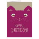 Cute Purple Cat Birthday Card