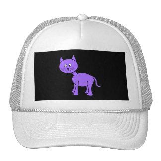 Cute Purple Cat. Cat Cartoon on Black. Mesh Hats