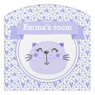 Cute Purple Cat | Personalized Lilac Hearts Kids Door Sign