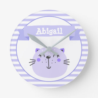 Cute Purple Cat | Personalized Nursery or Kids' Round Clock