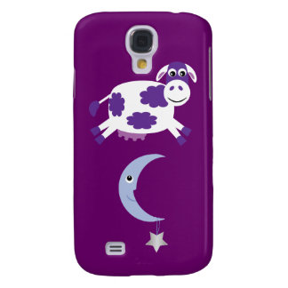Cute Purple Cow Jumping Over The Moon Samsung Galaxy S4 Cover
