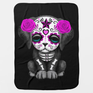 Cute Purple Day of the Dead Puppy Dog Black Buggy Blanket