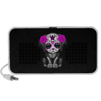 Cute Purple Day of the Dead Puppy Dog Black Mp3 Speakers