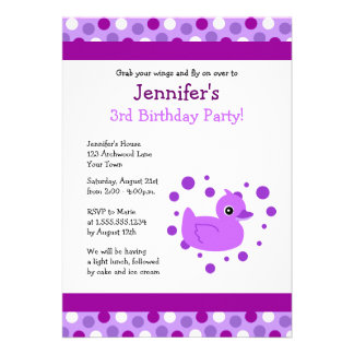 Cute Purple Ducky with Polka Dots Birthday Invite