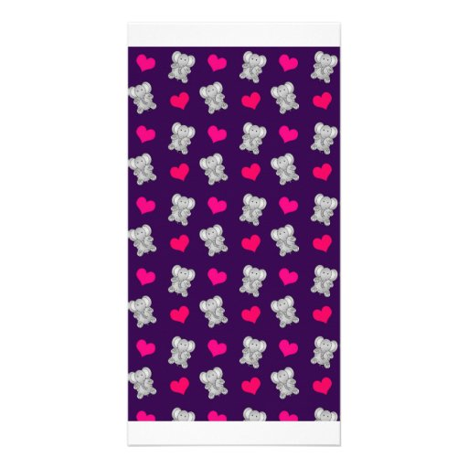 Cute purple elephant hearts pattern photo card template