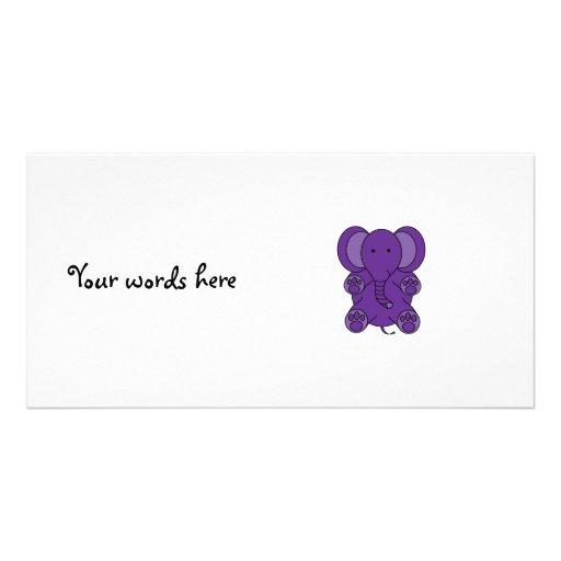 Cute purple elephant custom photo card