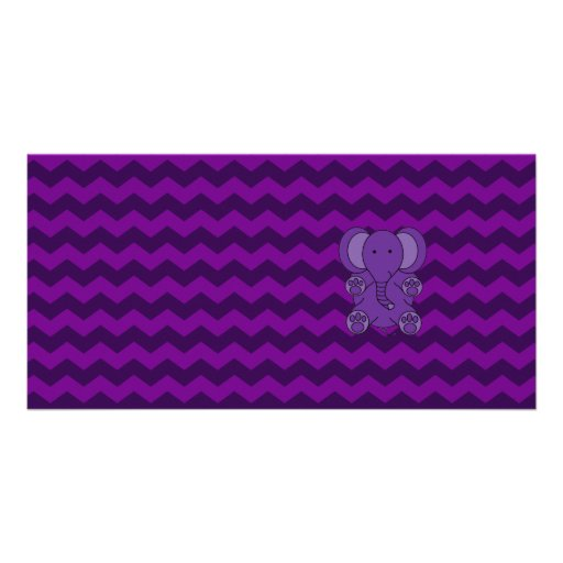 Cute purple elephant purple chevrons picture card