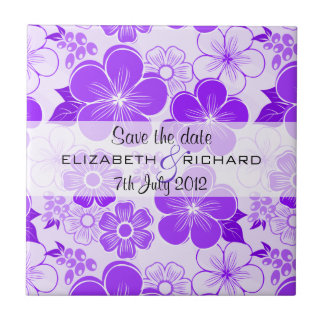 Cute purple flowers Save the date Tile