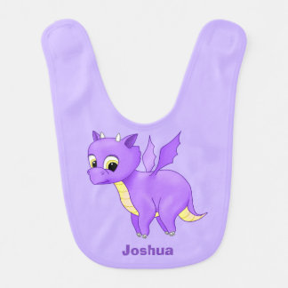 Cute Purple Flying Baby Dragon Bib