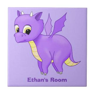 Cute Purple Flying Baby Dragon Ceramic Tile