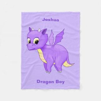 Cute Purple Flying Baby Dragon Fleece Blanket