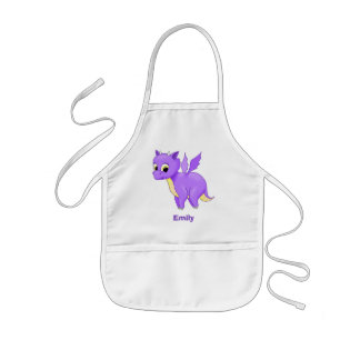 Cute Purple Flying Baby Dragon Kids Apron