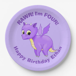 Cute Purple Flying Baby Dragon Paper Plate