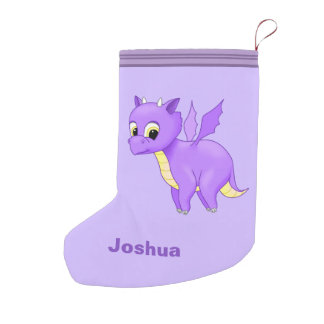 Cute Purple Flying Baby Dragon Small Christmas Stocking