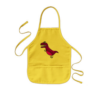 Cute purple funny, angry  dinosaur kid's apron