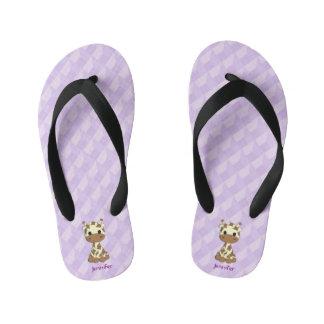 Cute purple giraffe cartoon kids name slippers thongs