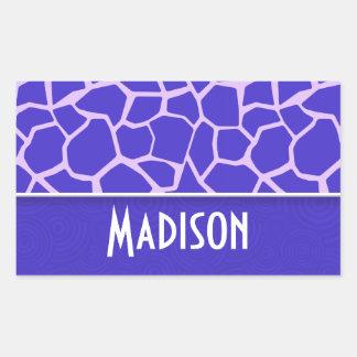 Cute Purple Giraffe Pattern Rectangular Sticker