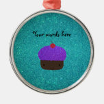 Cute purple glitter cupcake turquoise glitter