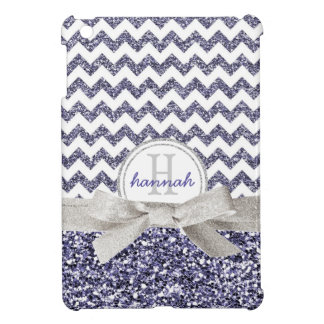 Cute Purple Glitter Look Chevron with Monogram Bow iPad Mini Case