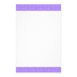Cute Purple Hearts Pattern Stationery