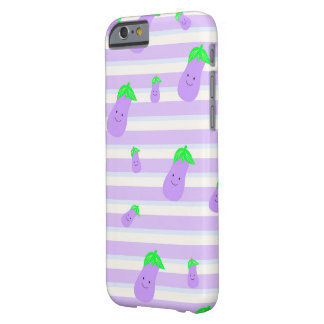 Cute Purple kawaii eggplant on stripe background Barely There iPhone 6 Case