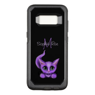 Cute Purple Kitten Monogram OtterBox Commuter Samsung Galaxy S8 Case