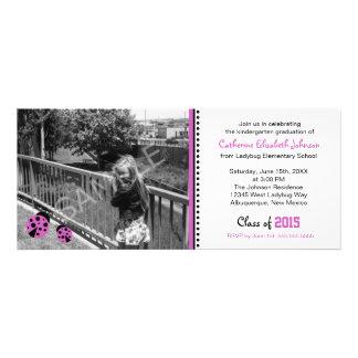 Cute Purple Ladybugs Graduation Party Invitation
