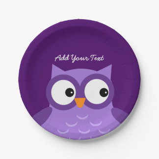 Cute Purple Owl Custom Text A01C Paper Plate