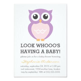 Cute Purple Owl Girl Baby Shower Invitations