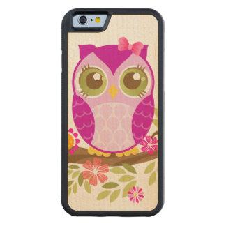 Cute Purple Owl Kawaii Wood Case