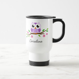 Cute, purple owl on a branch. Personalised name Stainless Steel Travel Mug