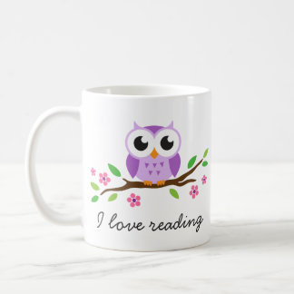 Cute purple owl on floral branch I love reading Coffee Mug