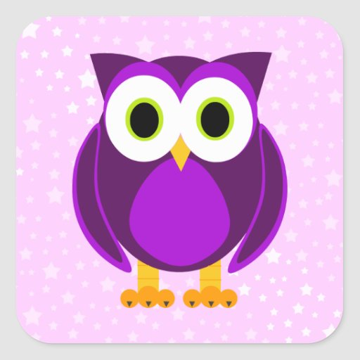 Cute Purple Owl - Star Background Square Stickers