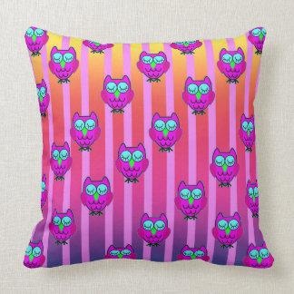 Cute purple owls seamless  pattern throw pillow