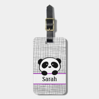 Cute Purple Panda Bear Luggage Tag