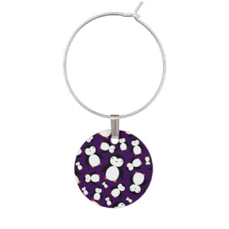 Cute purple penguin pattern wine charm