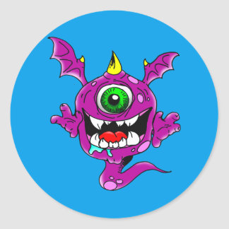 Cute Purple People Eater Monster Classic Round Sticker