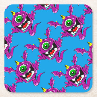 Cute Purple People Eater Monster Square Paper Coaster