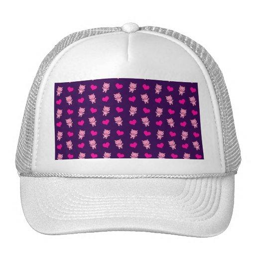 Cute purple pig hearts pattern hats