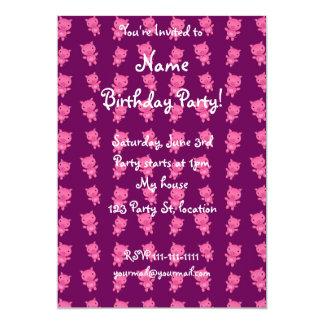 Cute purple pig pattern 13 cm x 18 cm invitation card