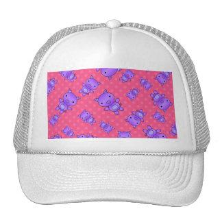 Cute purple pig pink polka dots trucker hat