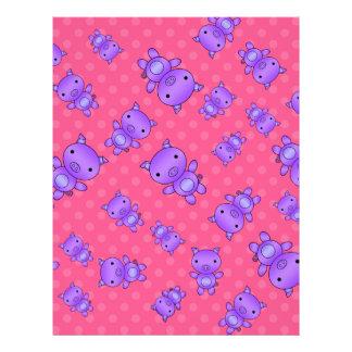 Cute purple pig pink polka dots custom flyer