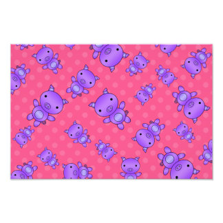 Cute purple pig pink polka dots photographic print